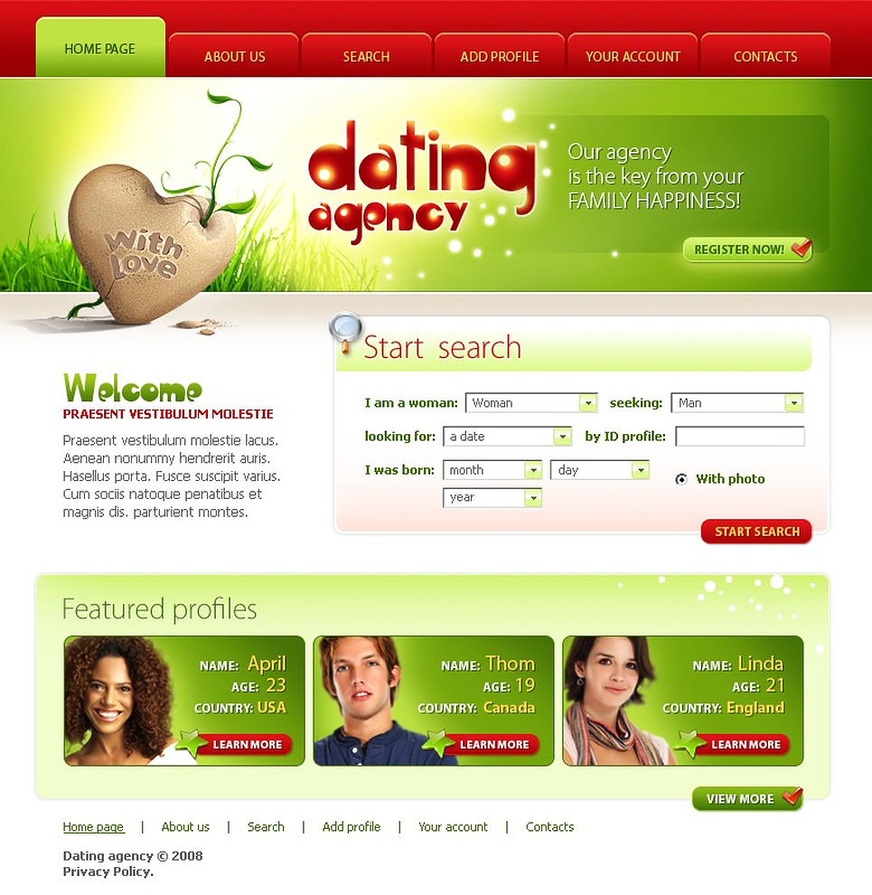 Dating sites layout