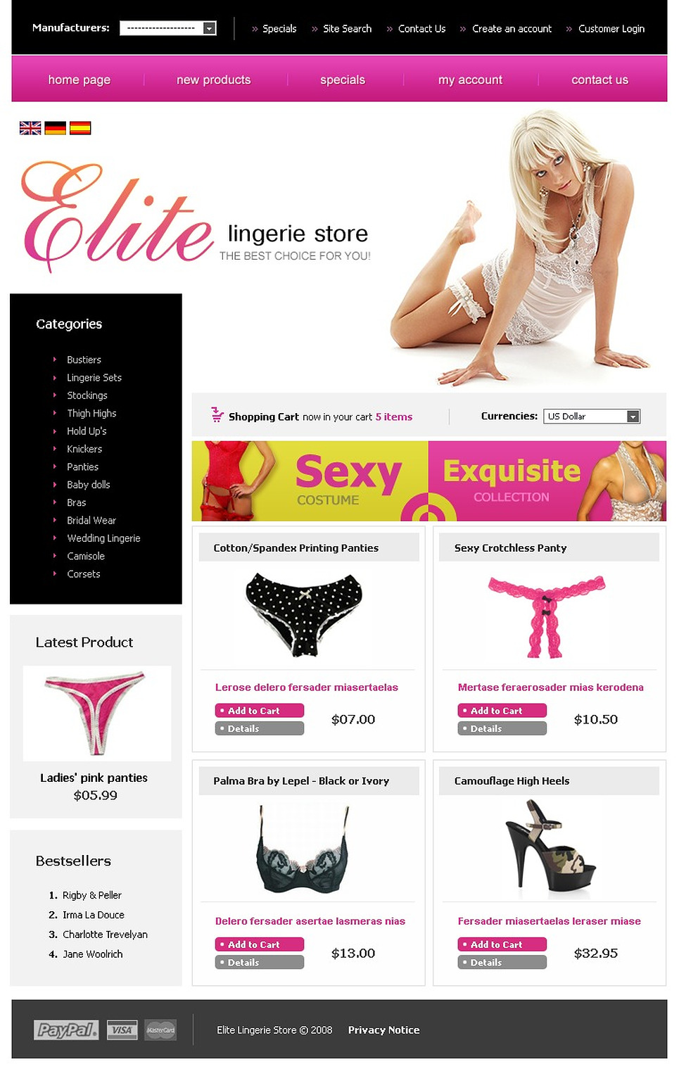 The Sophisticated Elite OS Commerce Template