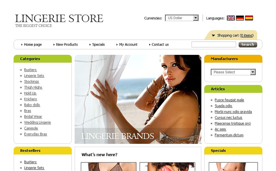Lingerie OsCommerce Template New Screenshots BIG