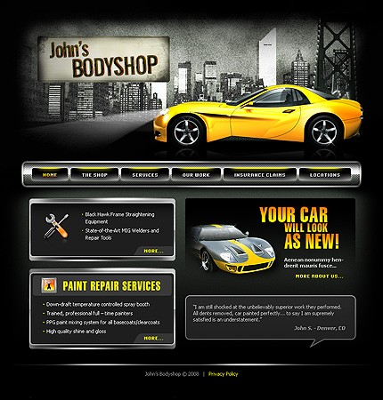 Auto Repair Website Template on Website Templates   Template  19363   John Bodyshop Car Auto Shop Body