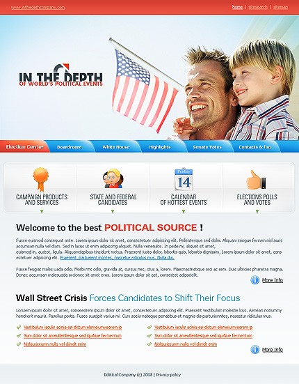 Заказ создания сайта или интернет магазина на тему Политика, на основании шаблона №19387.
