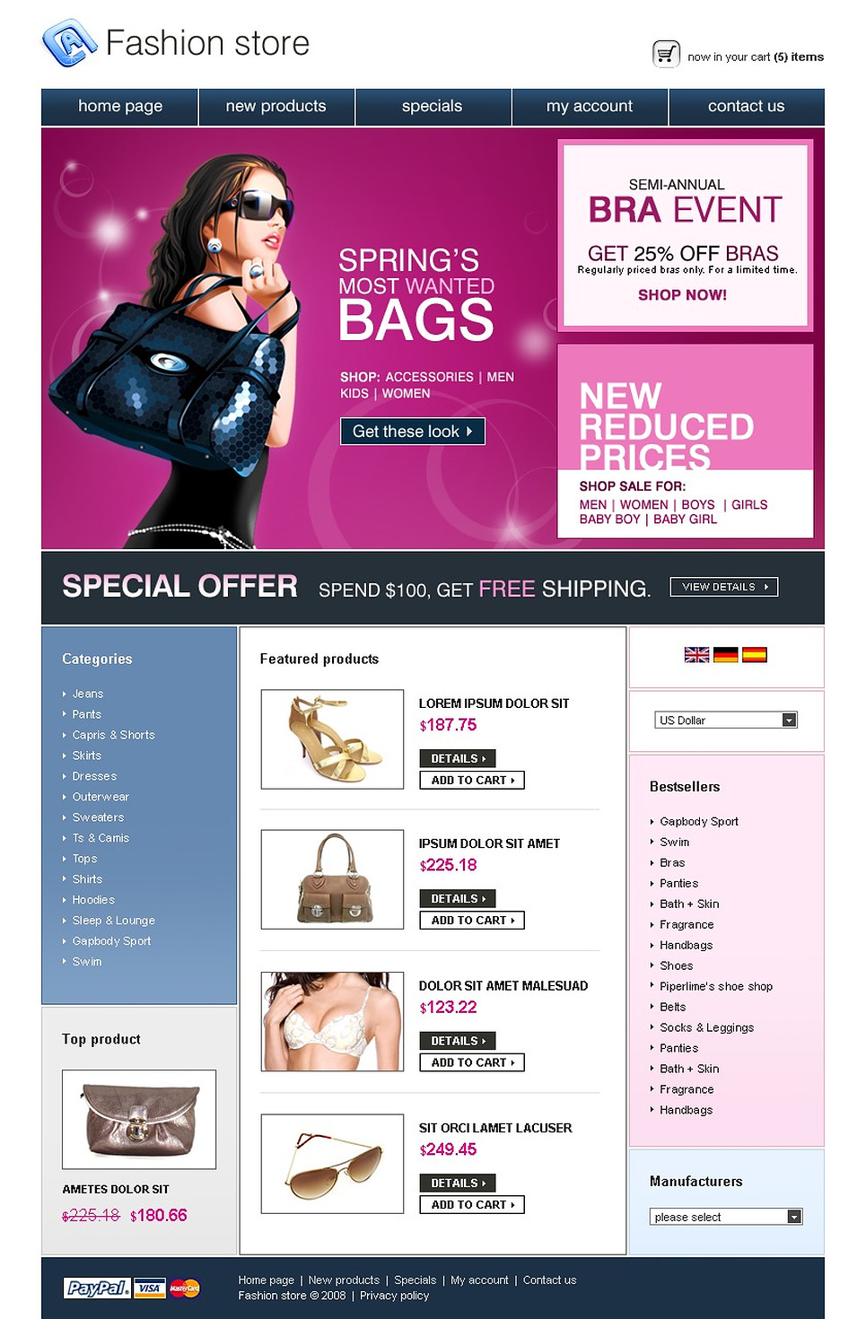 Modish Designed OsCommerce Template For Your Clothing Store