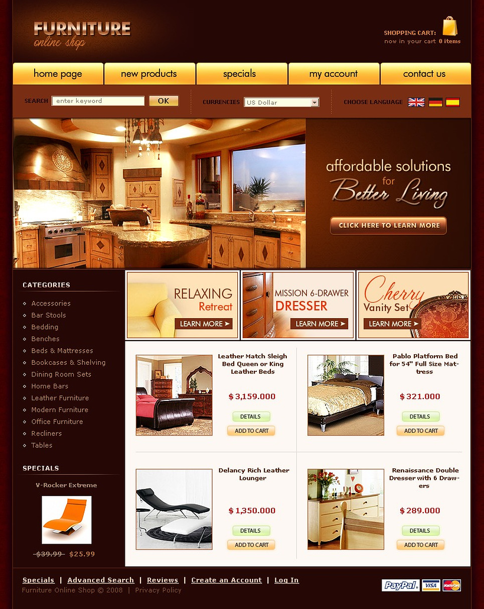 Furniture OsCommerce Template New Screenshots BIG
