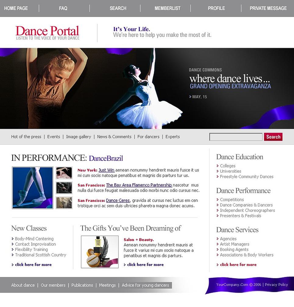 Dance Studio PhpBB Template New Screenshots BIG