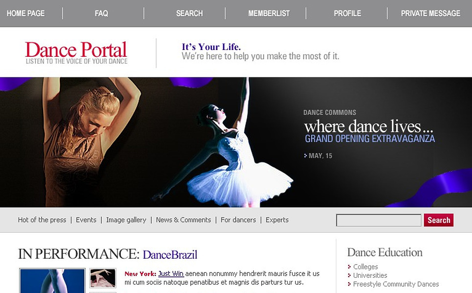 Dance Studio PhpBB Template New Screenshots BIG