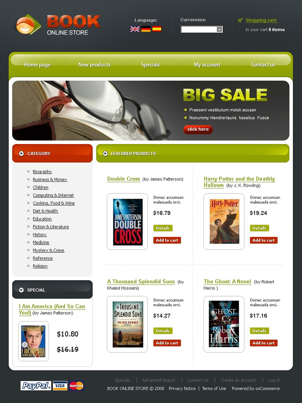 Book Store OsCommerce Template New Screenshots BIG