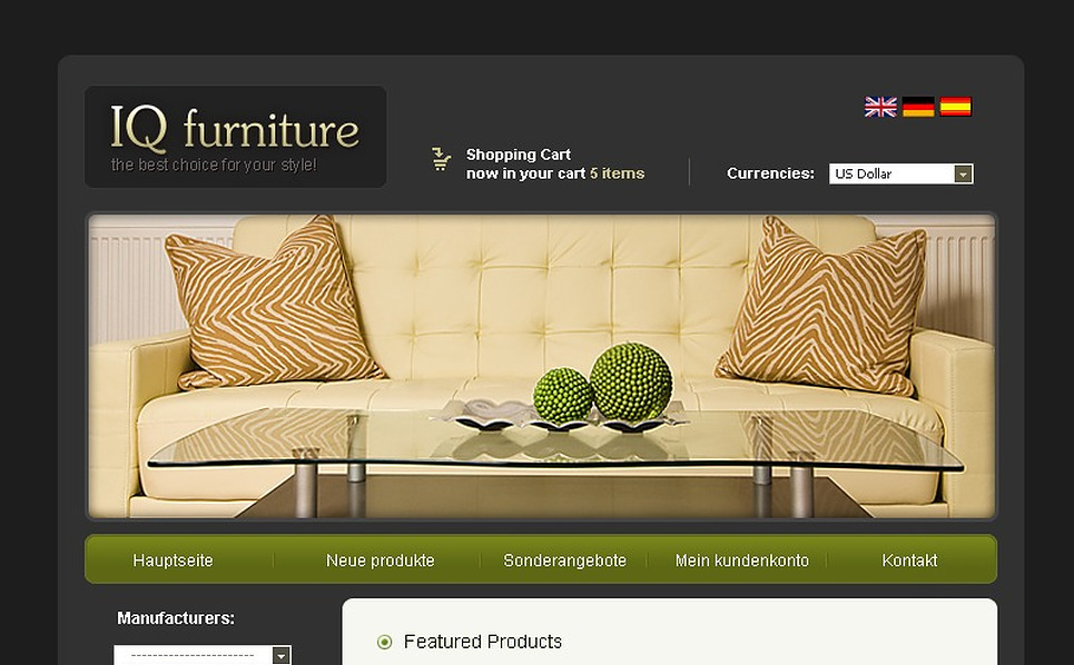 Furniture OsCommerce Template New Screenshots BIG