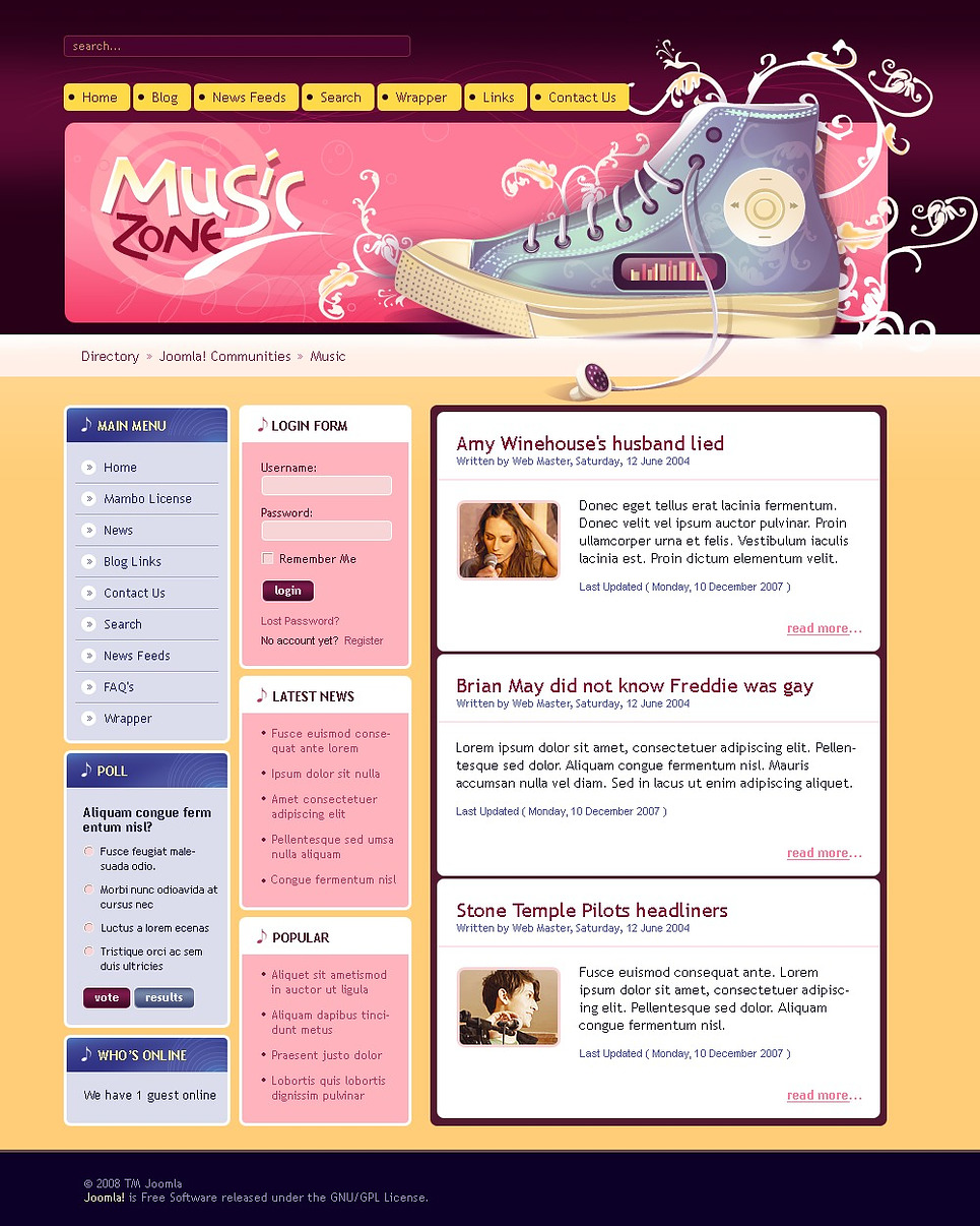 Music Portal Drupal Template New Screenshots BIG