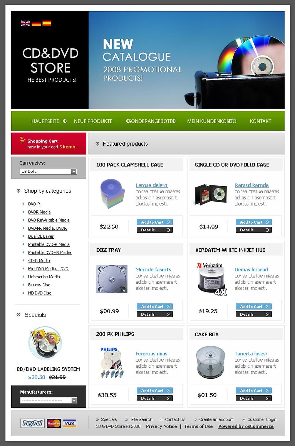 DVD Store OsCommerce Template New Screenshots BIG
