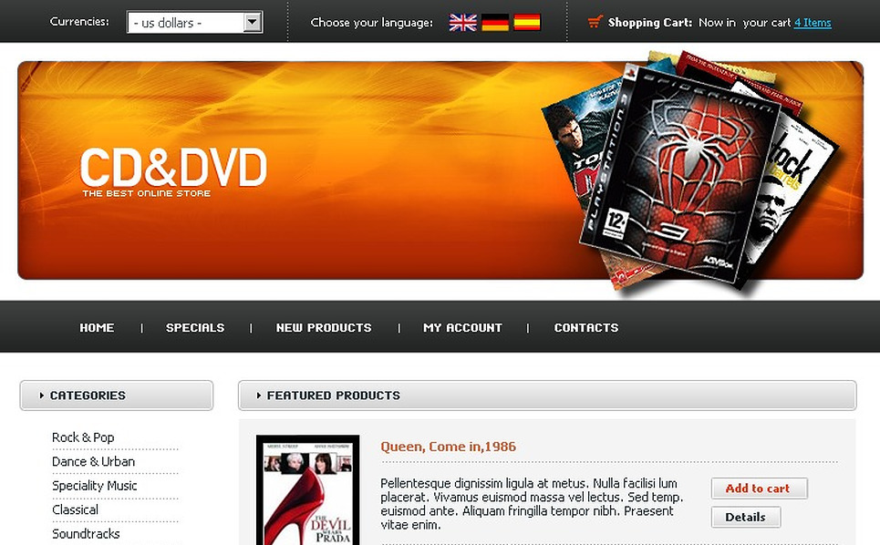 DVD Store OsCommerce Template New Screenshots BIG