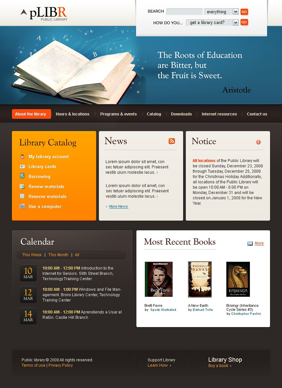 Library Website Template Web Design Templates Website