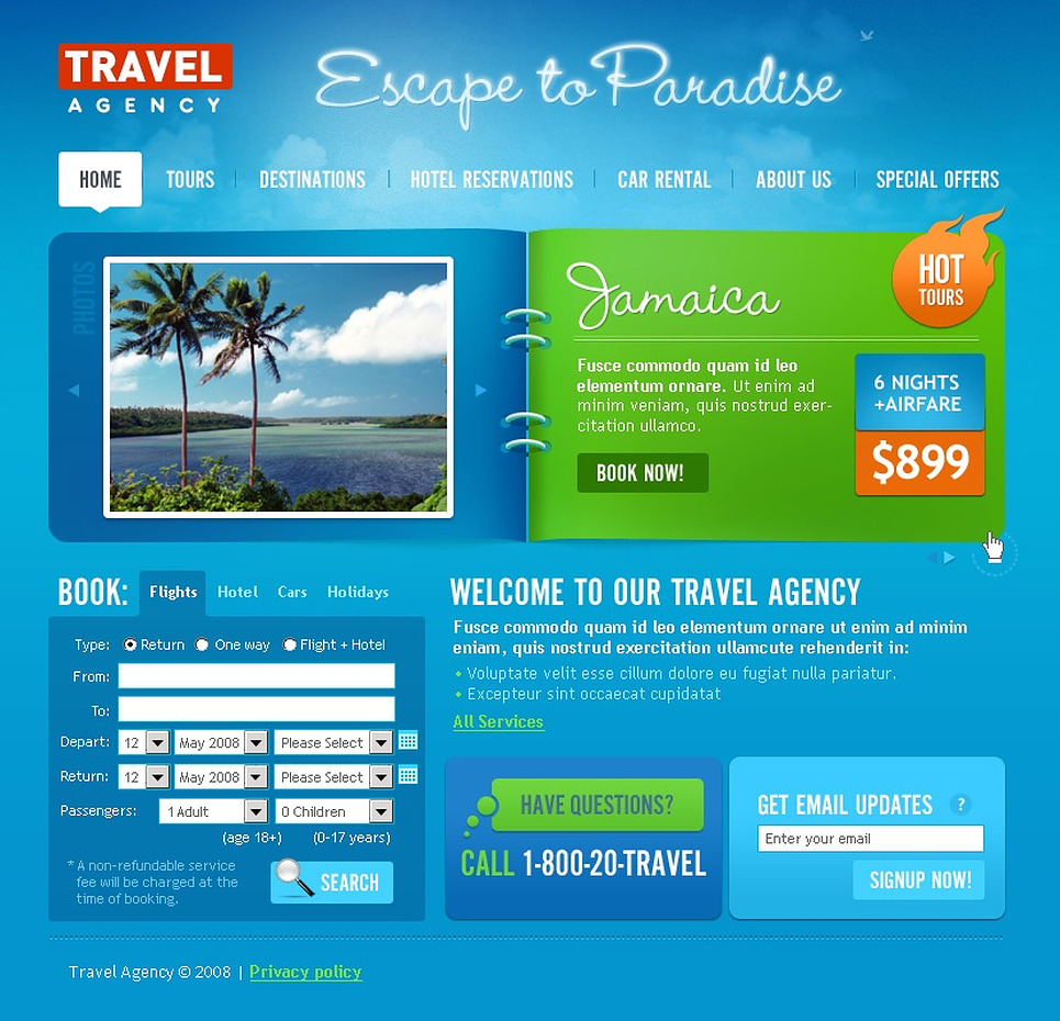 Travel Agency Website Template 19831