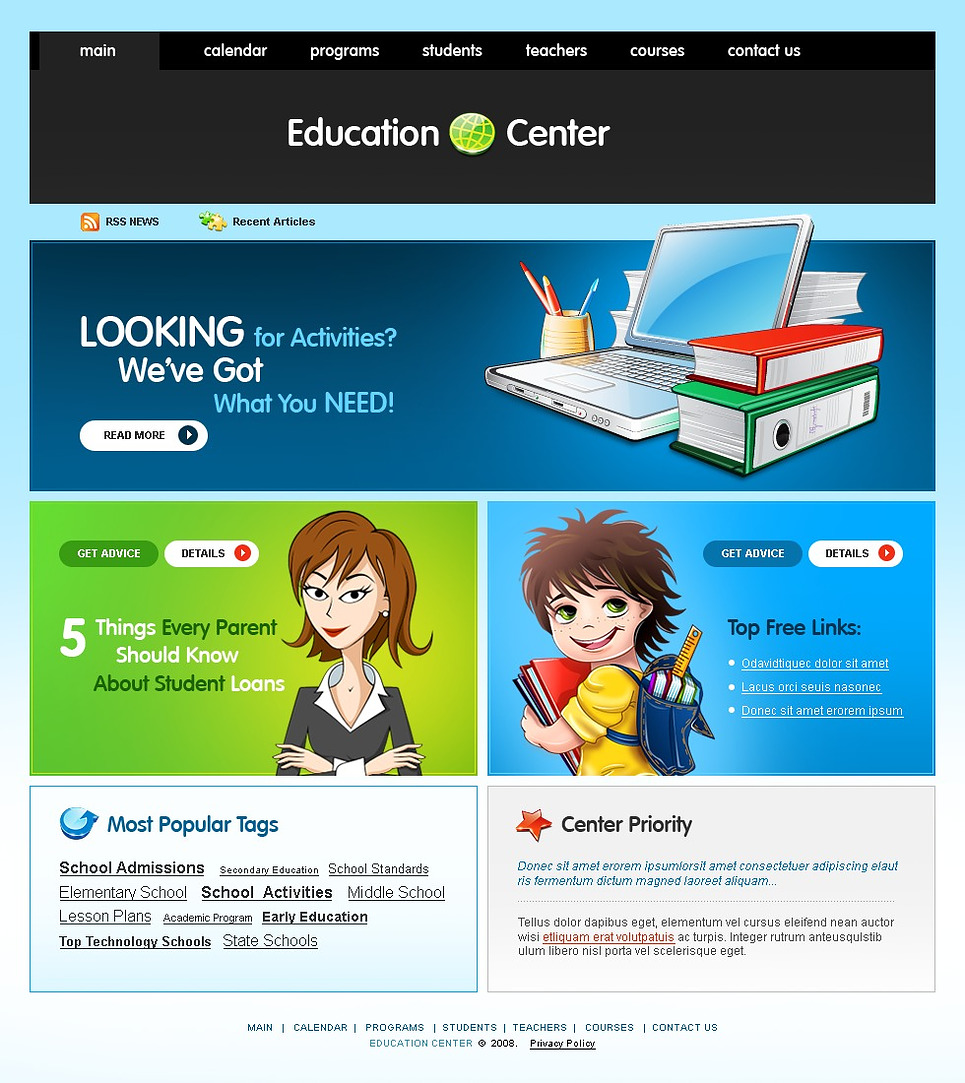 Educational psychology website template web design An website