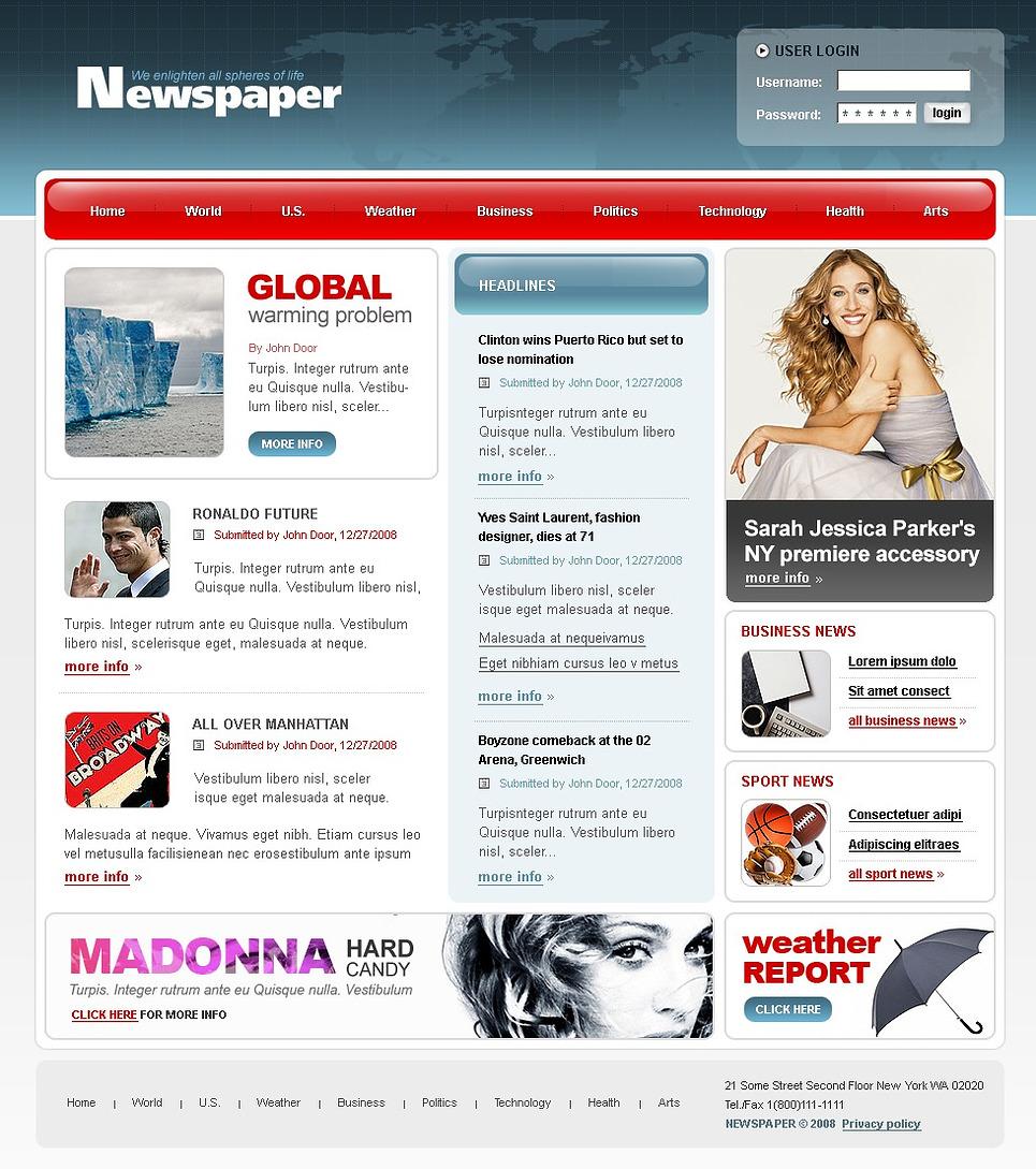Newspaper Template Website. newspaper html website template best ...