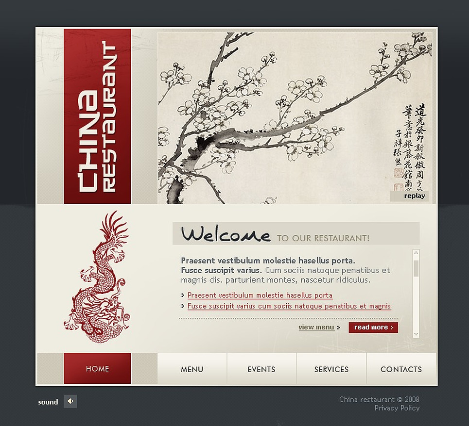 Chinese restaurant flash template 20096 for Restaurant layout templates