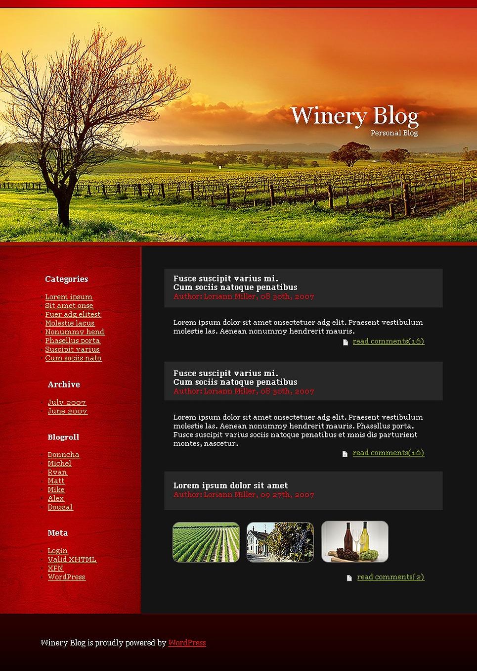 Winery WordPress Theme New Screenshots BIG