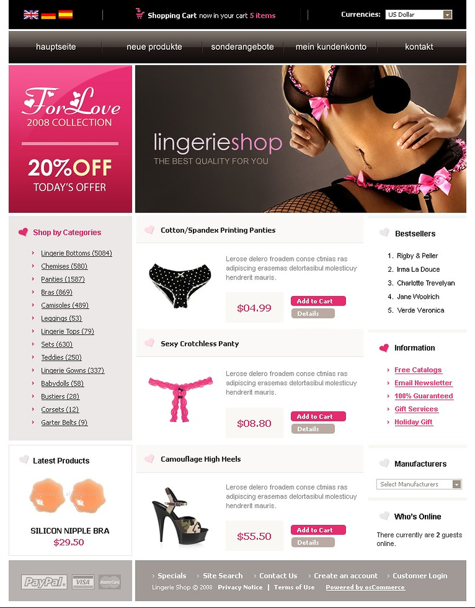 A Modern Lingerie OSCommerce Template in Black Background