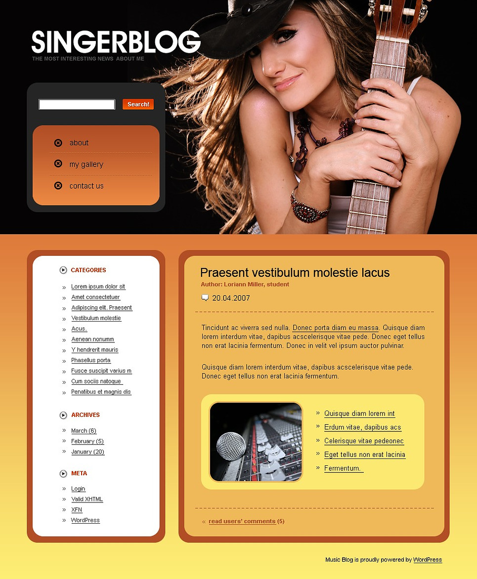 Singer WordPress Theme New Screenshots BIG