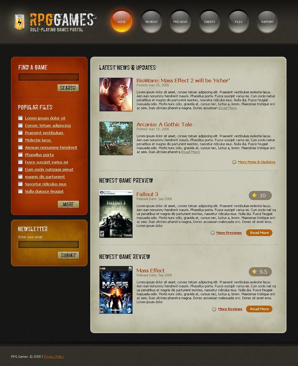 Games Website Template New Screenshots BIG