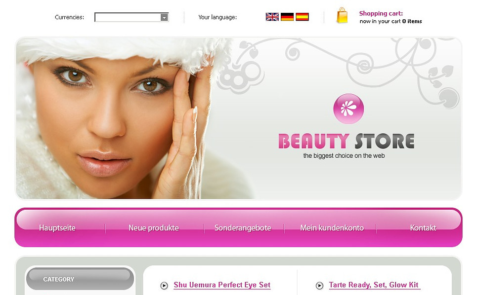 Cosmetics Store OsCommerce Template New Screenshots BIG
