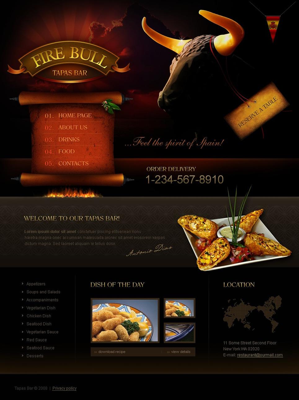 Tapas restaurant website template web design templates for Tapas menu template