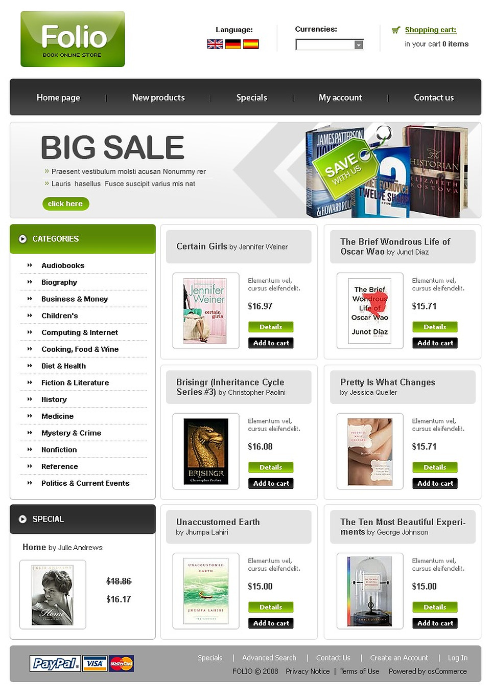 Book Store OsCommerce Template New Screenshots BIG