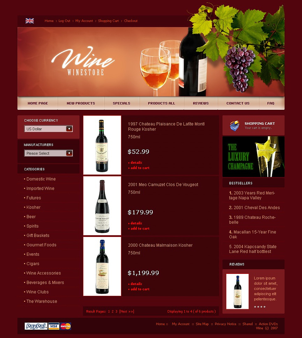 Wine ZenCart Template New Screenshots BIG