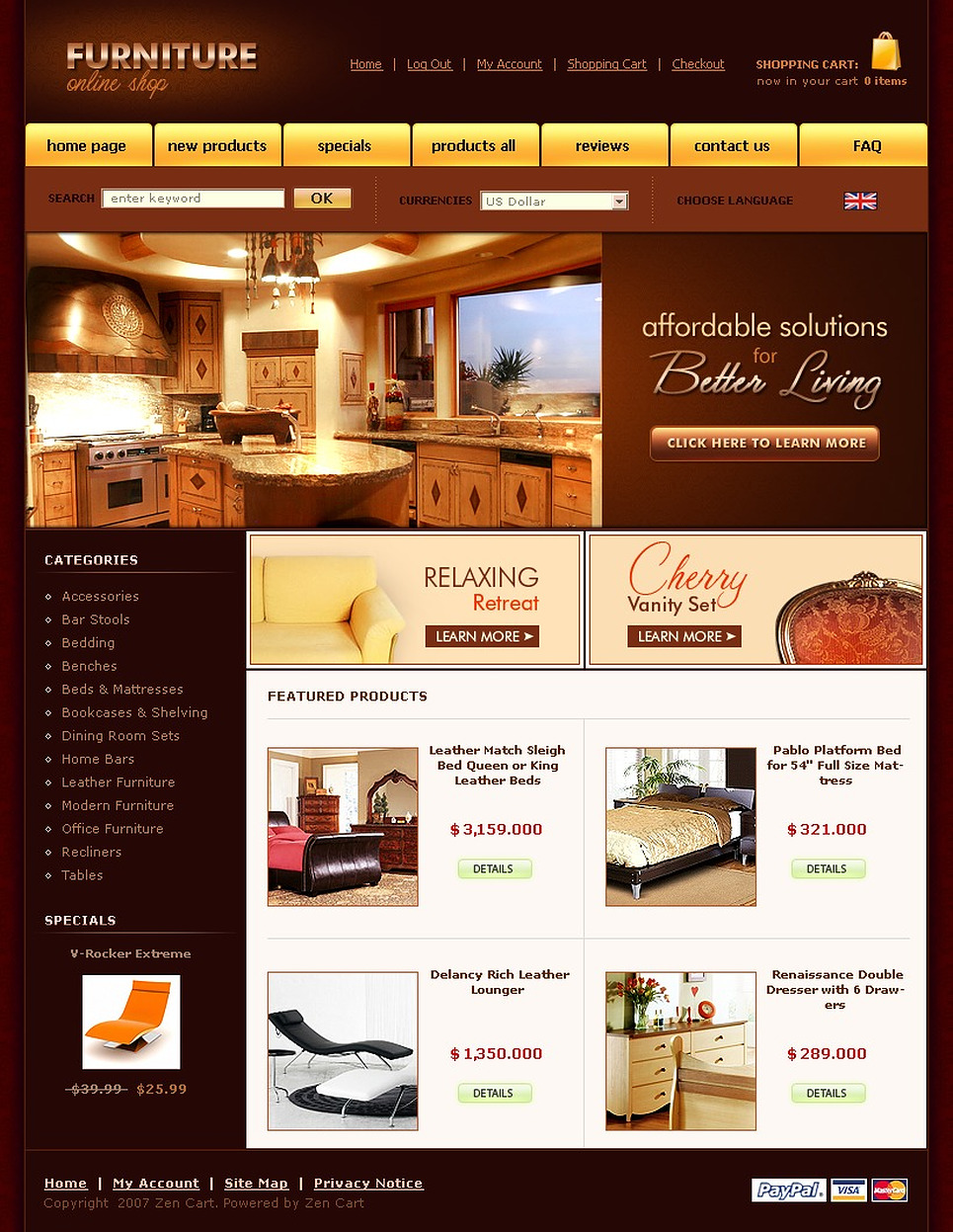 Furniture zencart template web design templates website Furniture design software free download