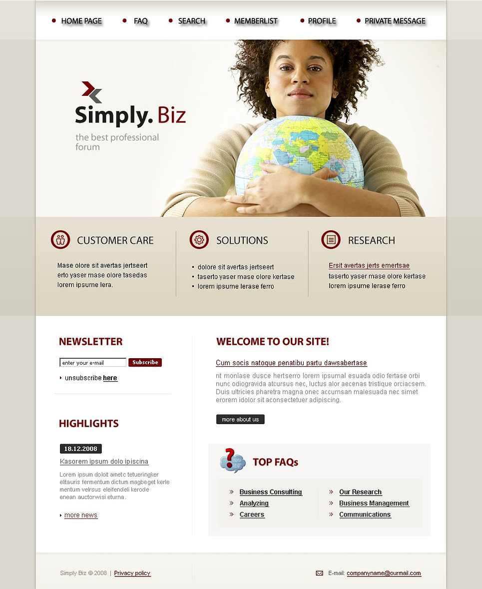 Business PhpBB Template New Screenshots BIG