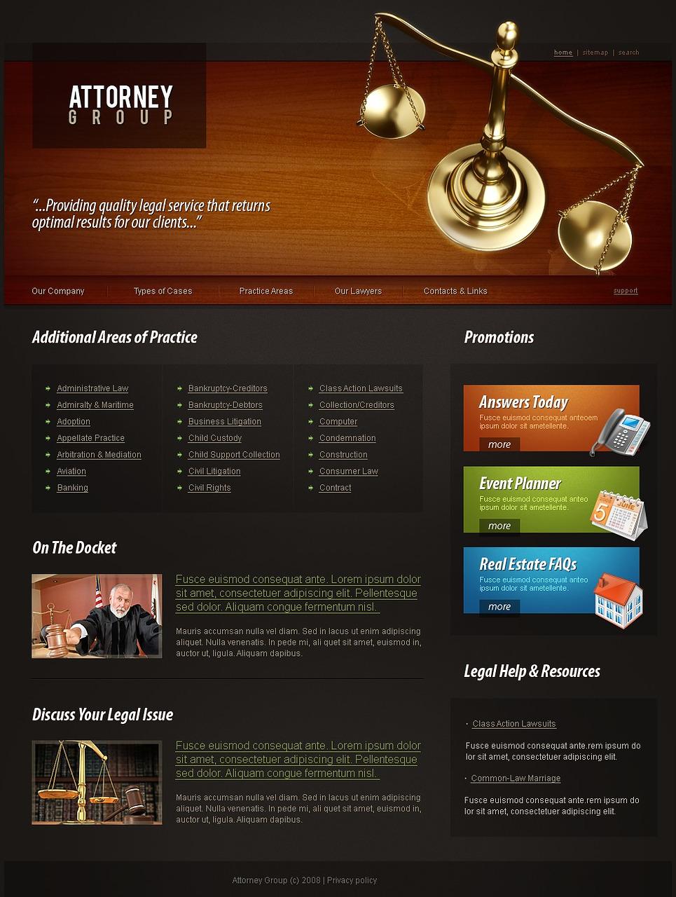 Law Firm Website Template - Web Design Templates, Website ...