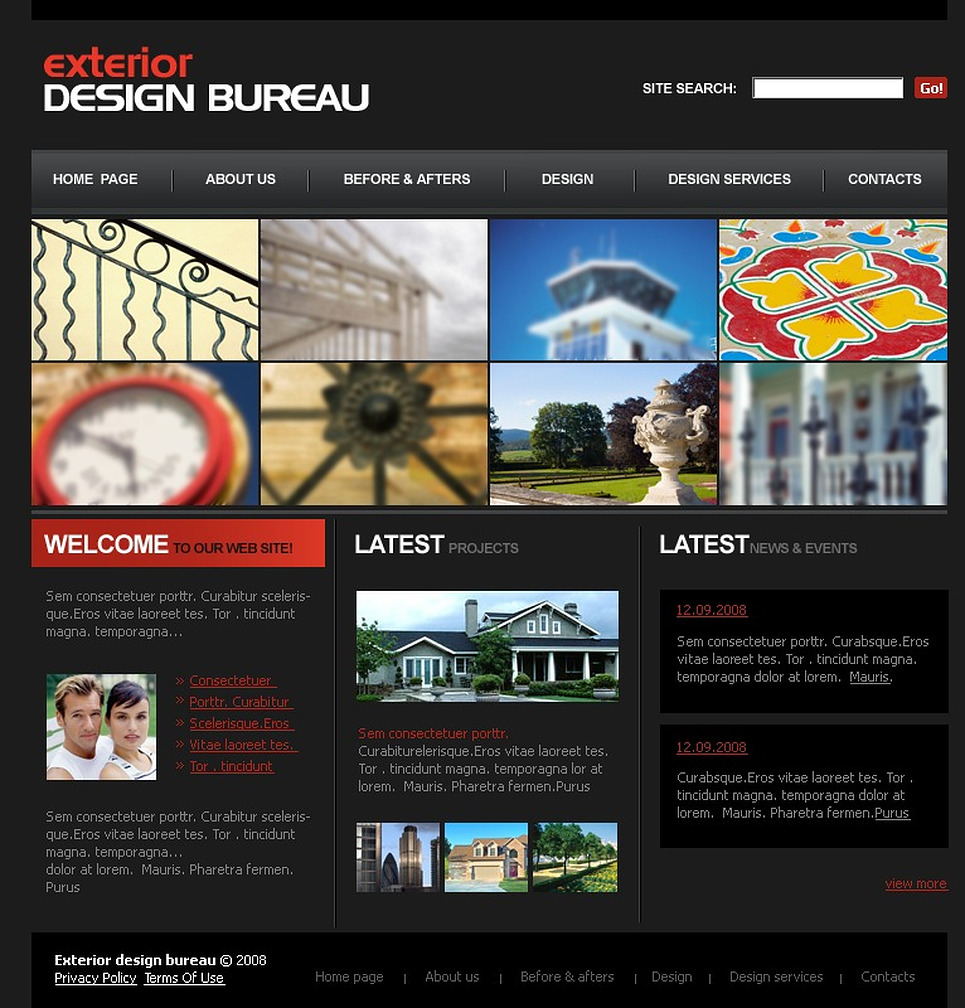 Exterior design website template 21347 for Exterior design website templates