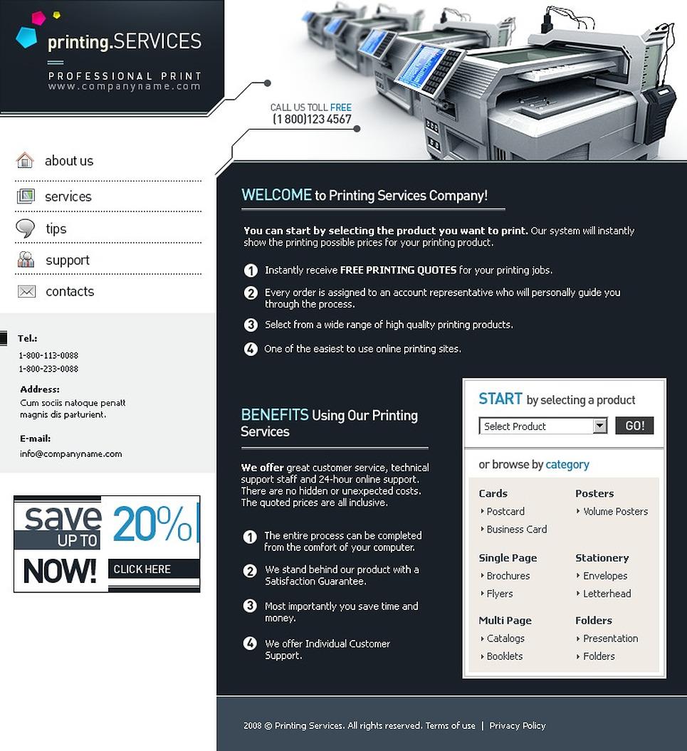 print shop website template 21356. Black Bedroom Furniture Sets. Home Design Ideas