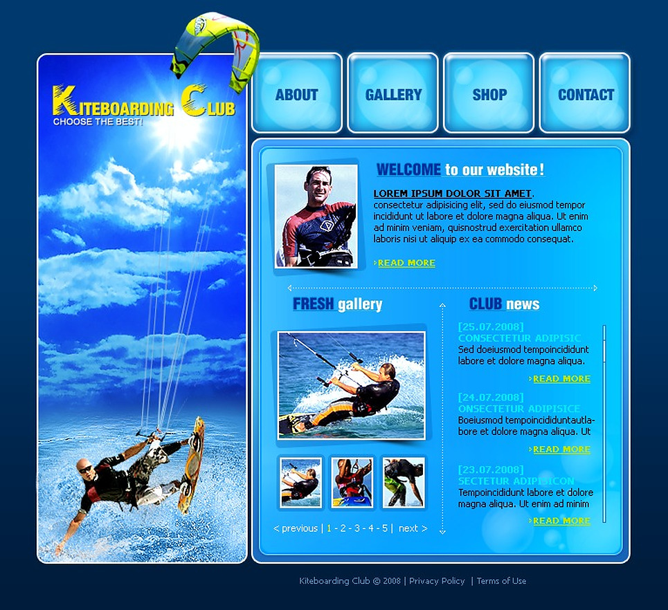 Kitesurfing Flash Template New Screenshots BIG