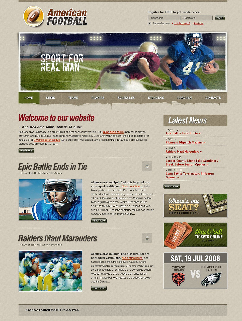 Football Website Template New Screenshots BIG