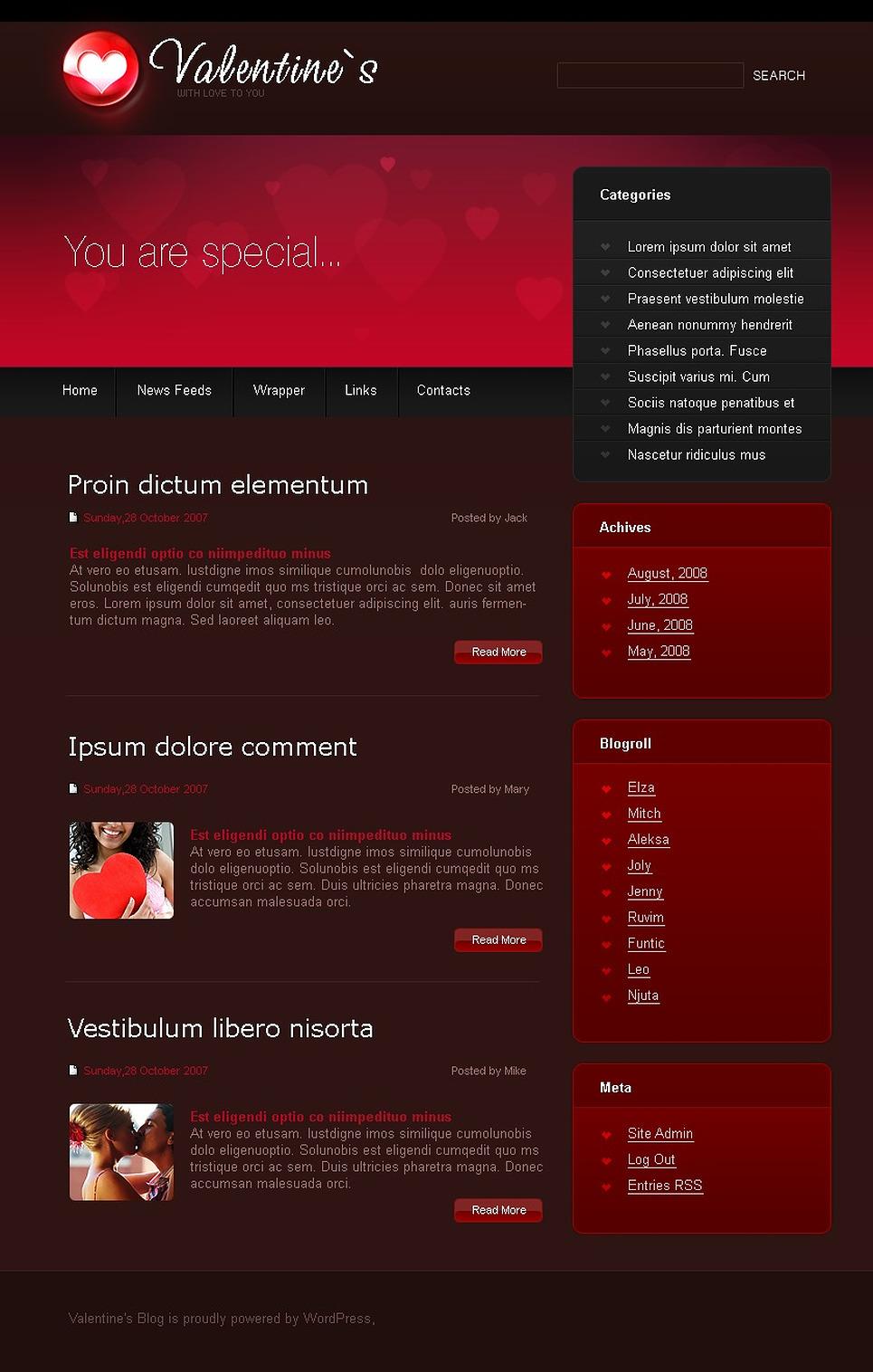 St. Valentine WordPress Theme New Screenshots BIG