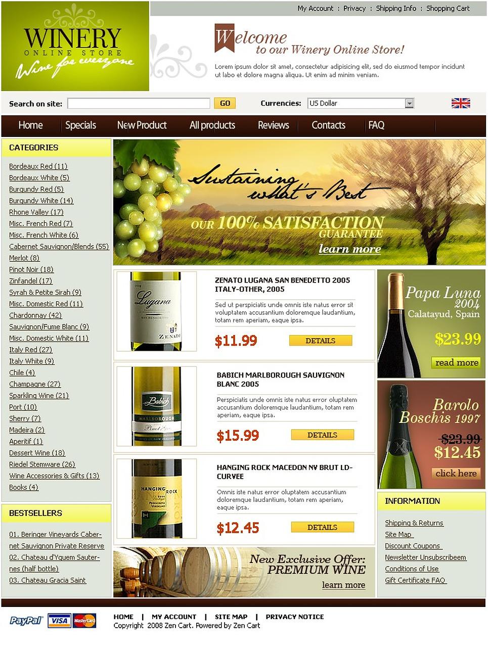 Winery ZenCart Template New Screenshots BIG
