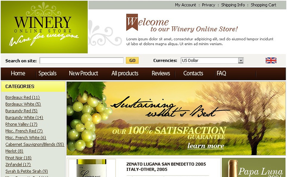 Winery ZenCart Template New Screenshots BIG