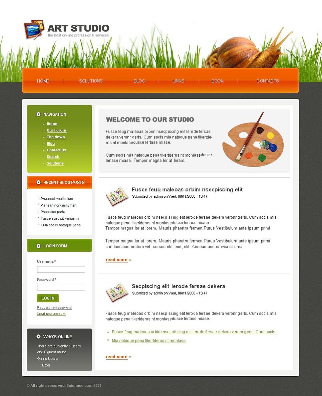art studio drupal template web design templates website templates download art studio drupal. Black Bedroom Furniture Sets. Home Design Ideas