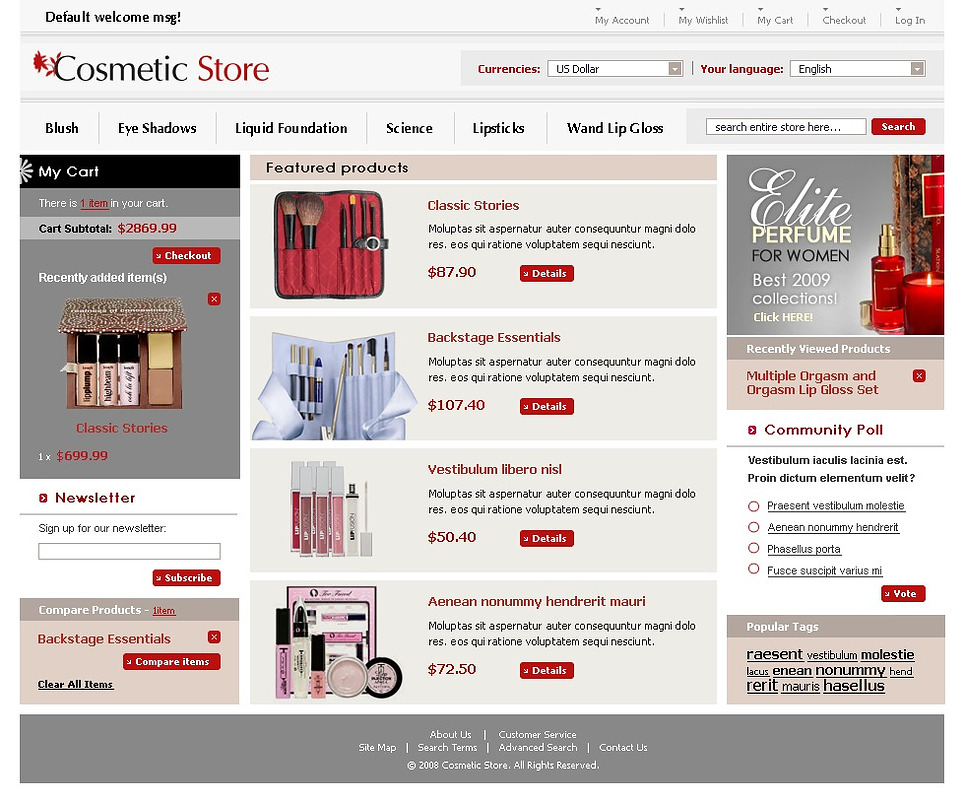 Cosmetics store magento theme web design templates for Magento homepage template
