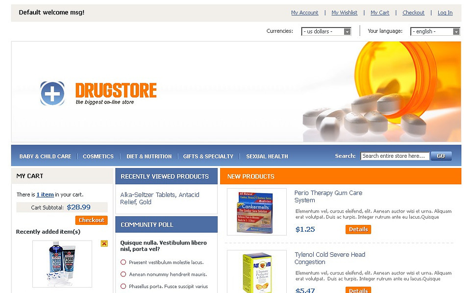 Drug Store Magento Theme New Screenshots BIG
