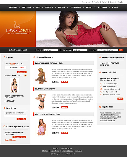 Lingerie stores - Remarkable Magento Lingerie Store Template