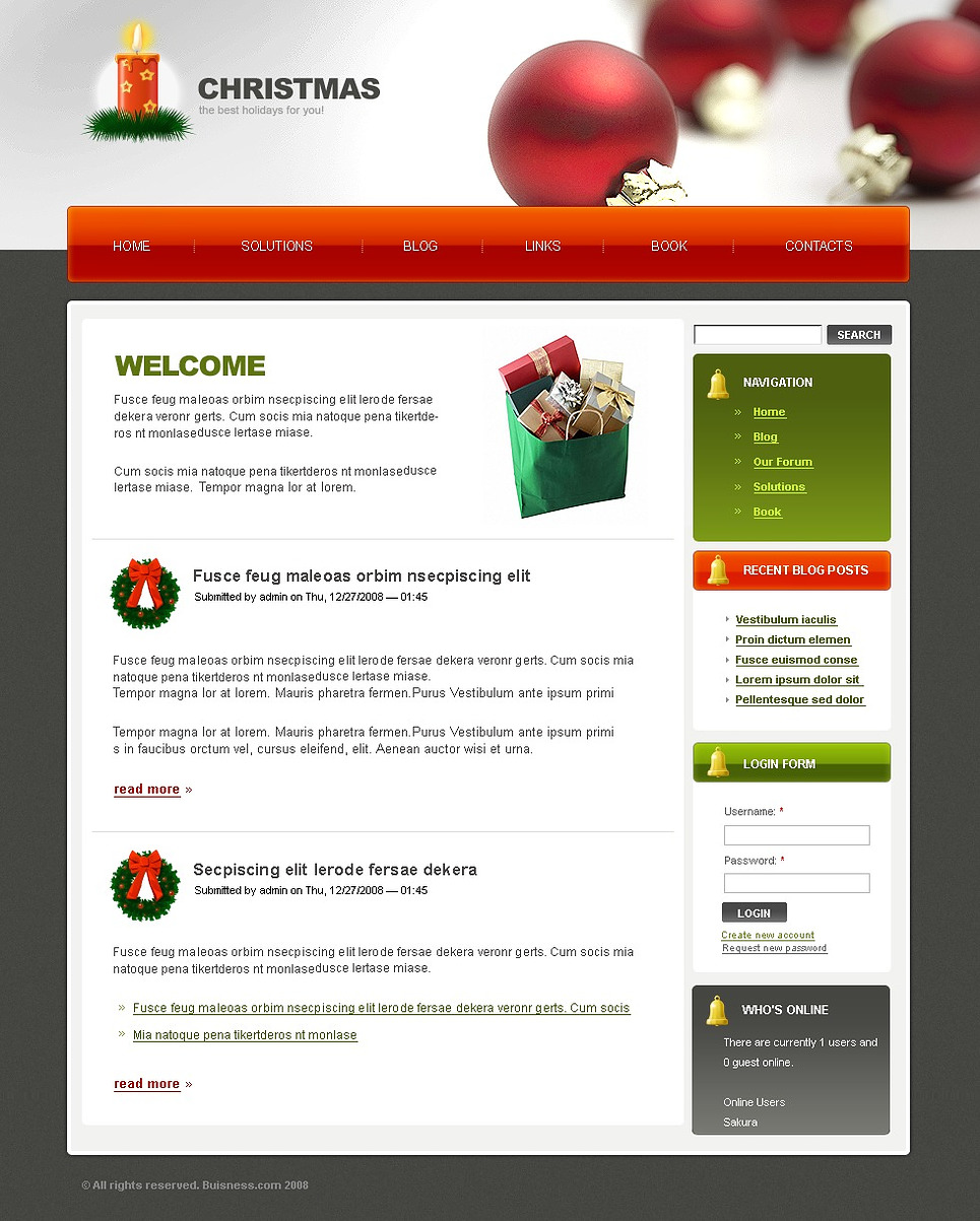 Christmas Drupal Template New Screenshots BIG