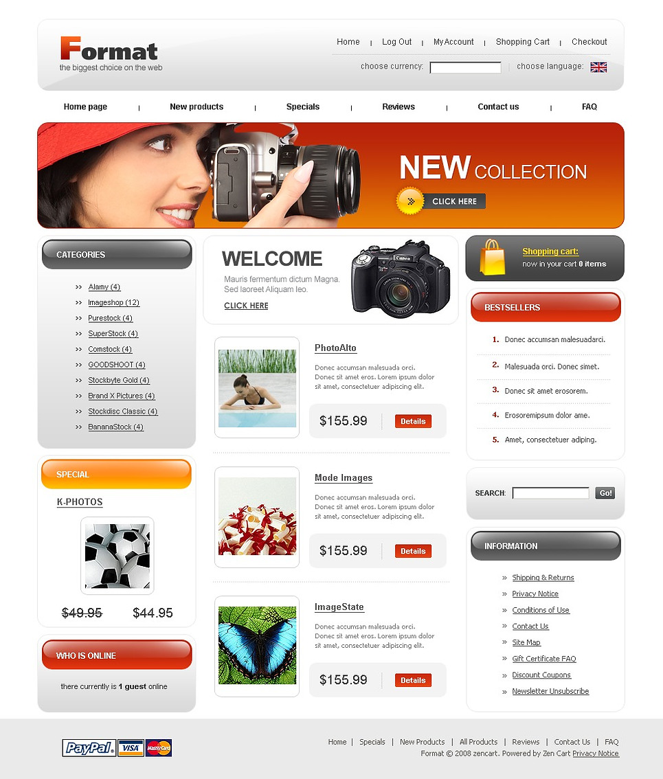 Video Store ZenCart Template New Screenshots BIG