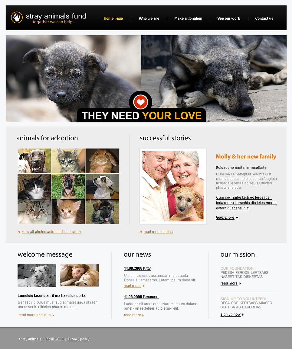 Animal Shelter Website Template New Screenshots BIG