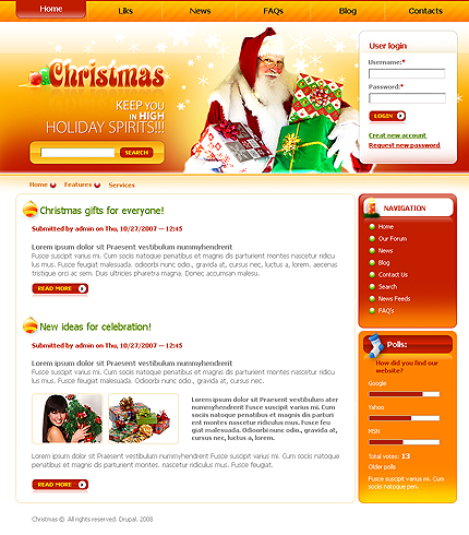 Заказ создания сайта или интернет магазина на тему Рождественские шаблоны, на основании шаблона 22029. FIRM.com.ua Создать сайт