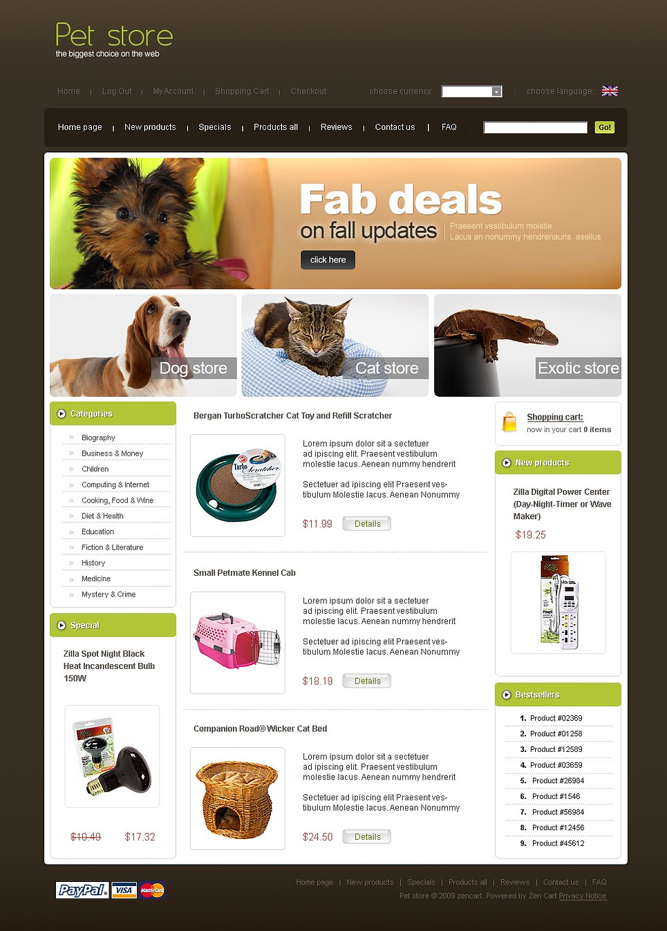 Pet Shop ZenCart Template New Screenshots BIG