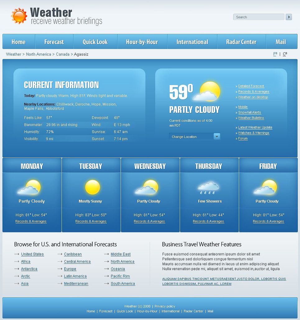 Weather Website Template New Screenshots BIG