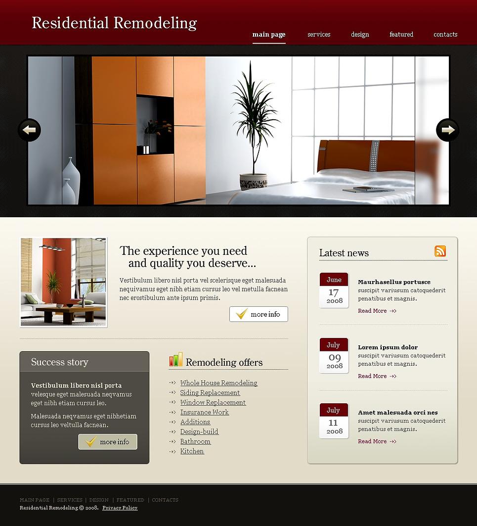 Home Remodeling Website Template - Web Design Templates, Website ...