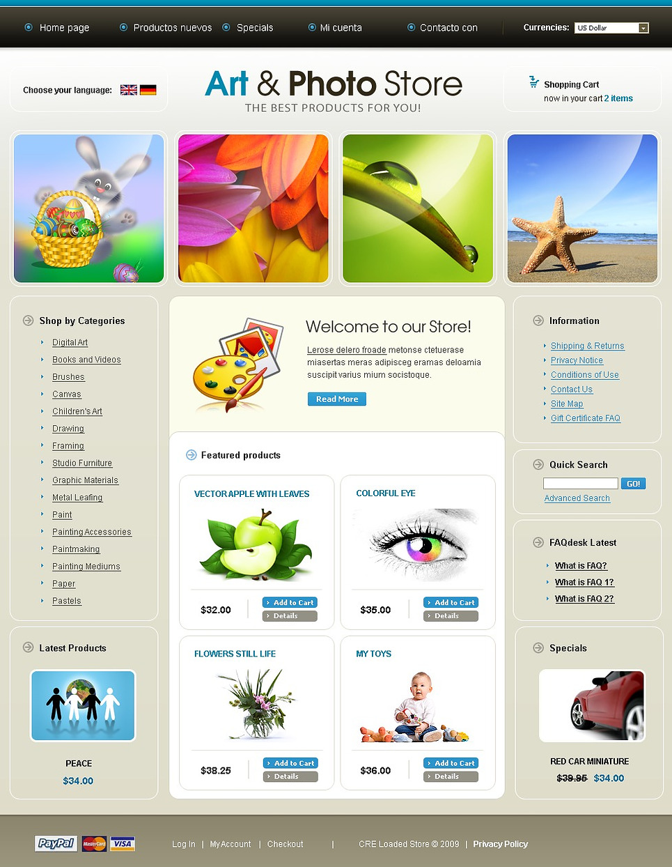 Art Store OsCommerce Template New Screenshots BIG