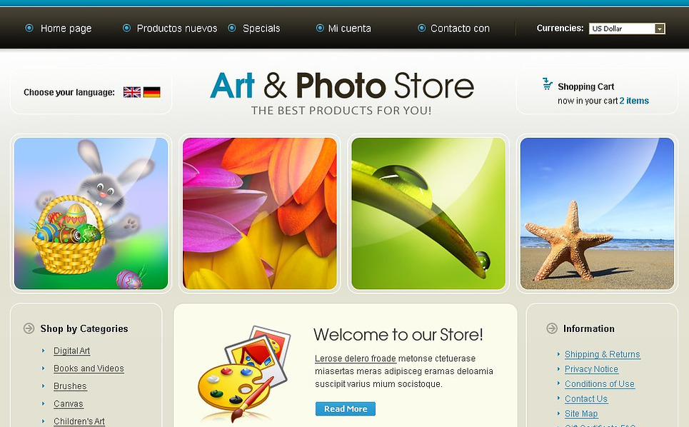 Art Store OsCommerce Template New Screenshots BIG